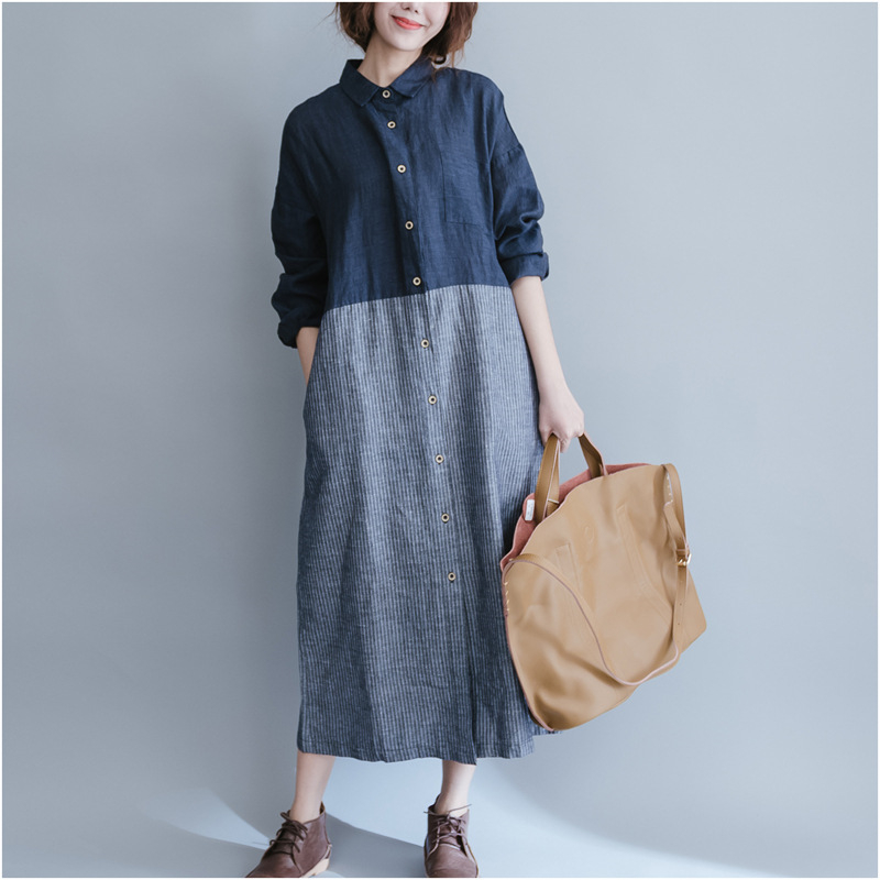 women cotton linen dress patchwork long sleeve 2017 spring With robe en lin grande taille