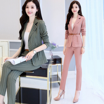 2017 Autumn 2 Piece set women's OL business office work wearing pant suit Striped Blazer and Trousers slim ladies blazer set