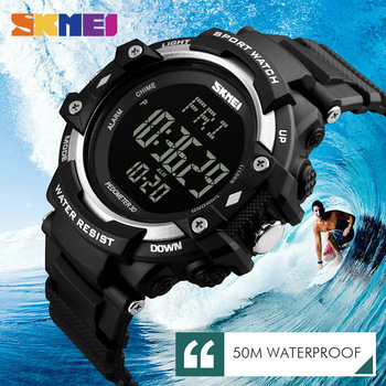SKMEI Luxury Brand Men 3D Pedometer HeartRate Monitor Calories Digital Display Watch Outdoor Sports Watches Relogio Masculino