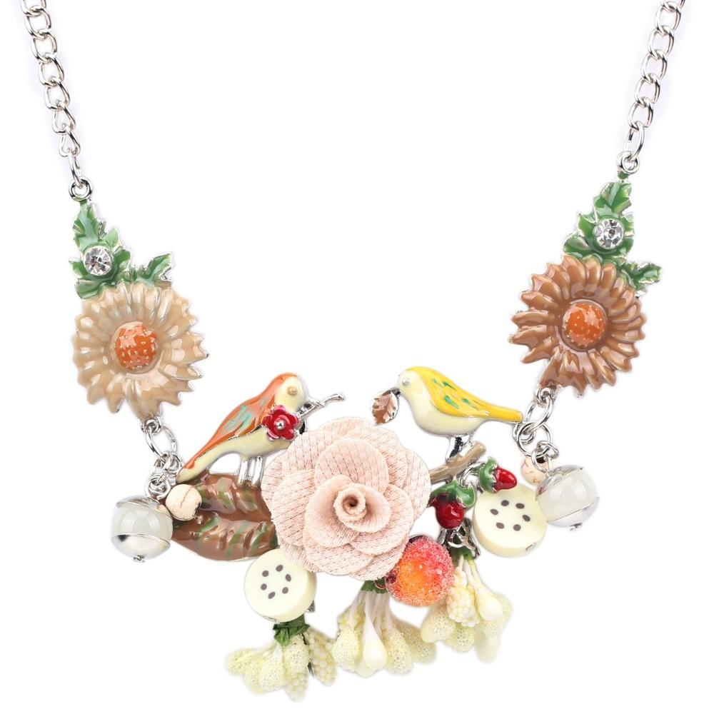 Bonsny Pernyataan Choker Enamel Bunga Kalung Paduan Burung Logam - Perhiasan fashion - Foto 5