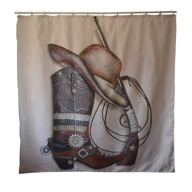 PapaMima Western Cowboy Waterproof Shower Curtains Polyester Bathroom With Hooks 150x180 180x180cm Decorative