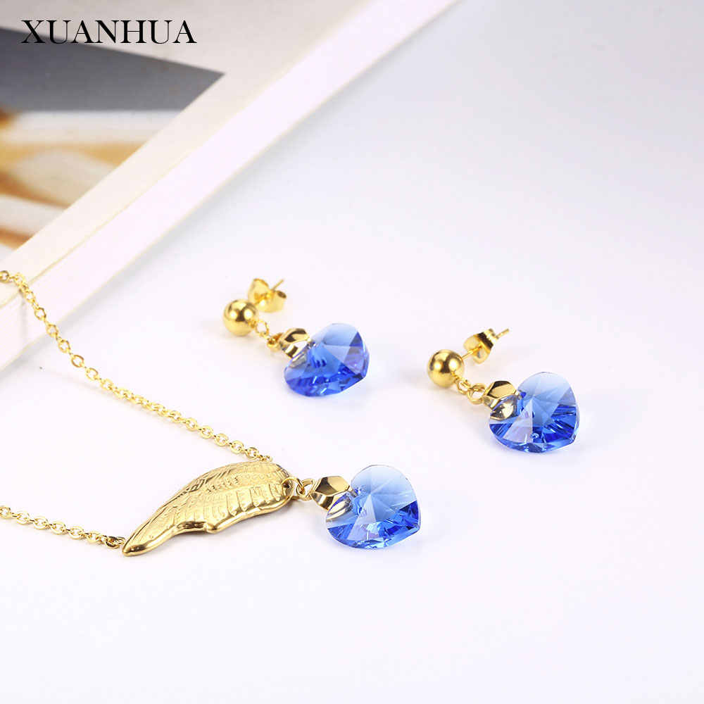 XUANHUA Angel Wings Charm Necklace Earrings Set Stainless Steel Jewelry Woman Vogue 2019 Jewelry Accessories Bohemian