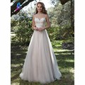 Elegant Sleeveless Wedding Dresses Boat Neck Tulle Appliques Beads Buttons Back Zipper Court Train Bridal Gown Dress Custom Made