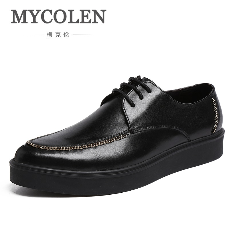 MYCOLEN New Design Top Genuine Leather Men Shoes Formal Business Leisure Shoe Men Thick Rubber Bottom Dress Breathable Shoes 2016 the new leisure men s canvas shoes men outdoor recreational shoe cowboy men s shoes