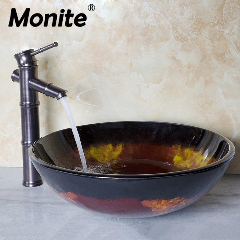 Glass Vessel Bathroom Sinks.Us 112 0 33 Off Hand Painting Round Counter Top Bathroom Art Washbasin Tempered Glass Vessel Sink With Antique Copper Solid Brass Faucet Sets In