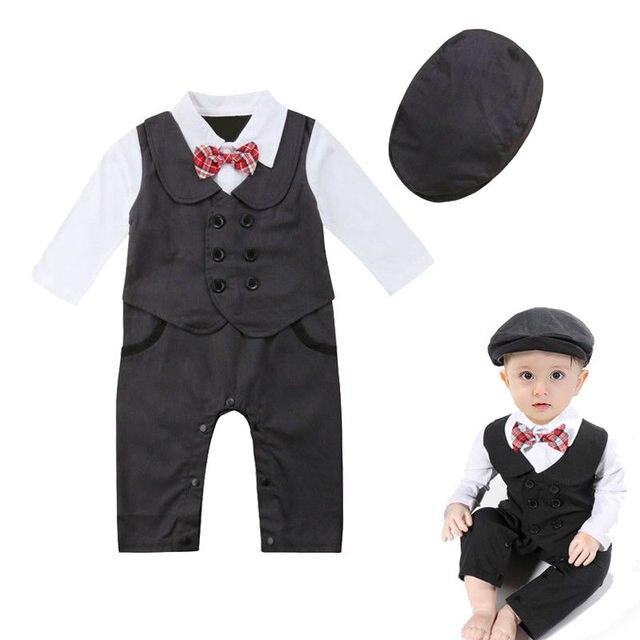3980850e4 Newborn Baby Boys Gentleman Formal Clothes Long Sleeve Tie Romper ...