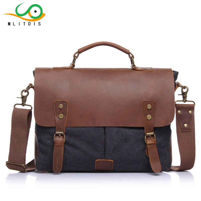 MLITDIS Maletin Hombre Vintage Crossbody Bags Men Canvas Shoulder Bags Messenger Men's leather Briefcase Handbag Tote Laptop Bag цены