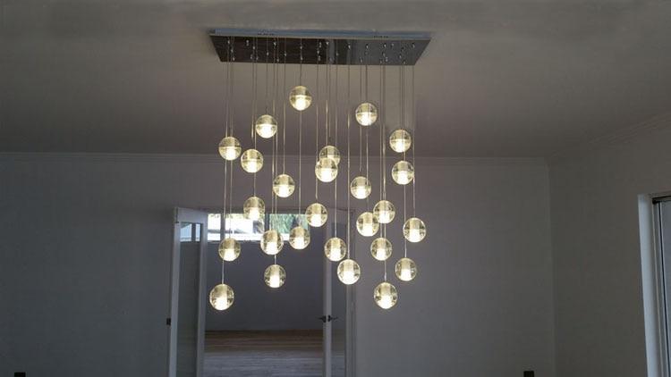 Phube Lighing LED Meteor Shower Crystal Chandelier Light Fixtures Stairwell  Chandelier Modern Foyer Chandeliers 25 Light