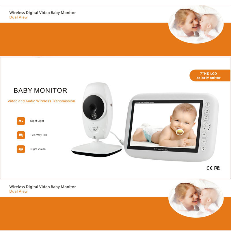 Image 2 - MBOSS 7.0inch Baby Monitor 720P HD Wireless Color Baby Monitor With Night Vision Camera Lullabies Support Split Screen-in Baby Monitors from Security & Protection