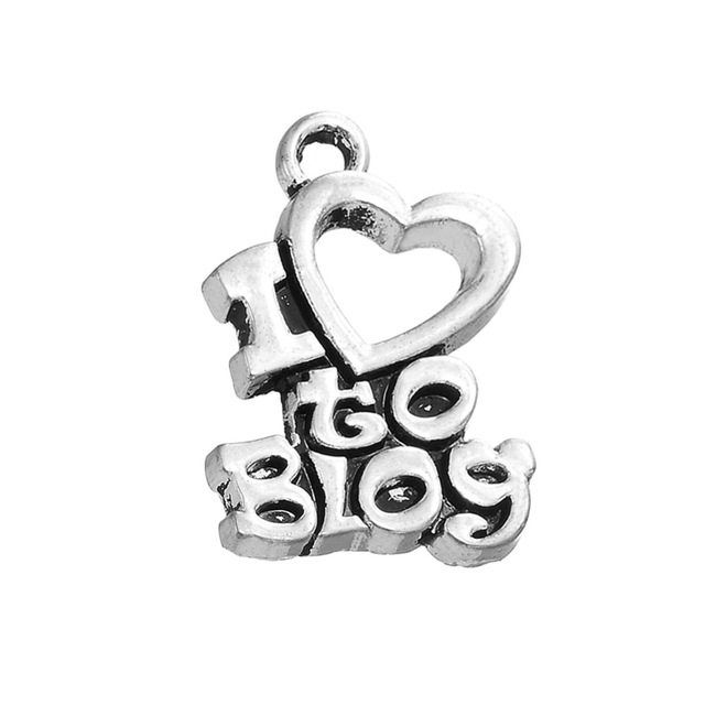RAINXTAR Online Wholesale Vintage I Love To Blog Alloy Letter Charms 14*20mm 50pcs AAC1243 image