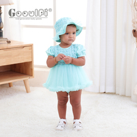 Gooulfi Baby Girls Clothing White Baptism Jumpsuit Baby Solid Cotton Rompers Short Sleeve 0 3months 1st Year Birthday For Girls
