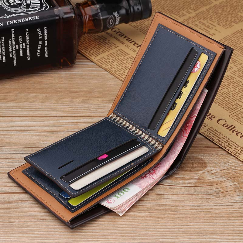 Fashion Men Wallet Leather Short Purse Small Vintage Wallet Embossed Money Bag Credit Card Holders High Quality Best Sale-WT