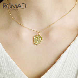 ROMAD Abstract Face Necklace Pendant Sterling Silver Color Necklace Gold Necklace Choker Chain for Women Fashion Jewelry R2(China)