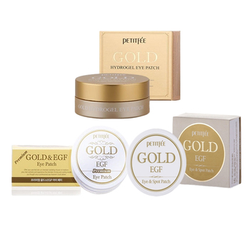 PETITFEE Eye Mask Set 3pcs ( Premium Gold & EGF + Gold & EGF Eye&Spot + Gold Hydrogel ) Collagen Eye Patch Eye Care Sleep Masks