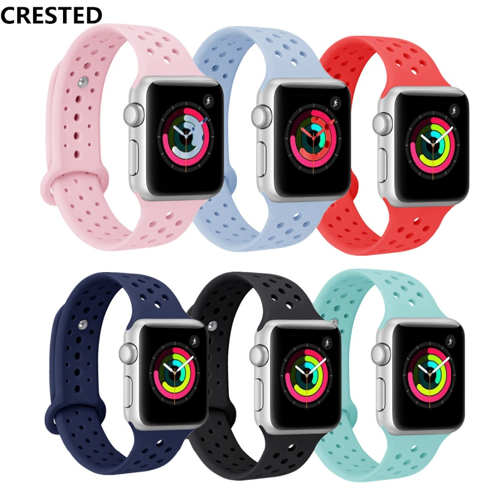 Silicone Sport Strap For Apple Watch Band Apple Watch 5 4 3 44mm 40mm 42mm/38mm Correa Iwatch 5 Bracelet Rubber Watchband Belt