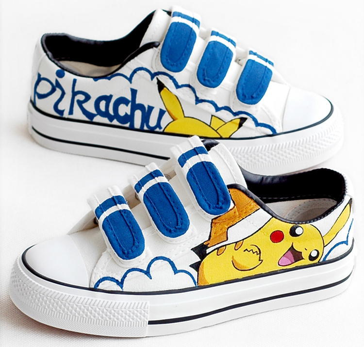 Children's New Hand-painted Canvas Shoes Boys And Girls Cartoon Pikachu Casual Graffiti Shoes Flat-bottomed Student Shoes #1 стоимость