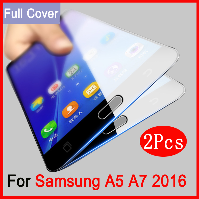 2pcs Full Cover Tempered Glass For <font><b>Samsung</b></font> <font><b>Galaxy</b></font> <font><b>A5</b></font> A7 2016 Prime Screen Protector On <font><b>Samsung</b></font> A <font><b>510</b></font> A 710 Protective Films Case image