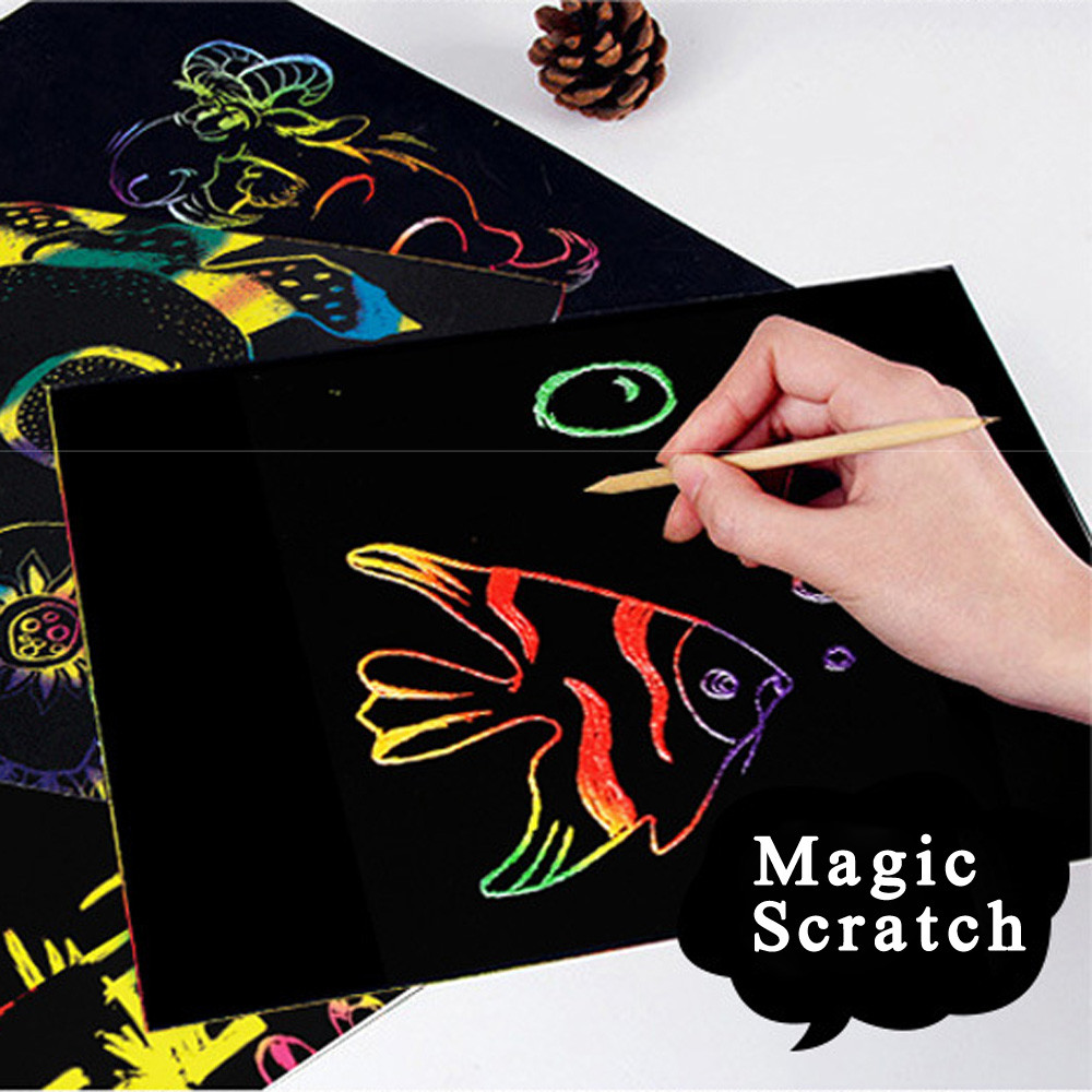 Ongekend 10 Pcs Magic Scratch Art Painting Paper With Drawing Stick Kids NW-44