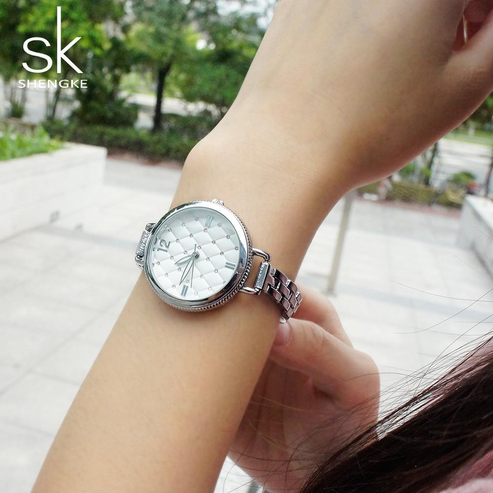 Shengke Women Watches Top Famous Brand Luxury Bracelet Quartz Watch Female Ladies Watches Shell Crystal Diamond Relogio Feminino