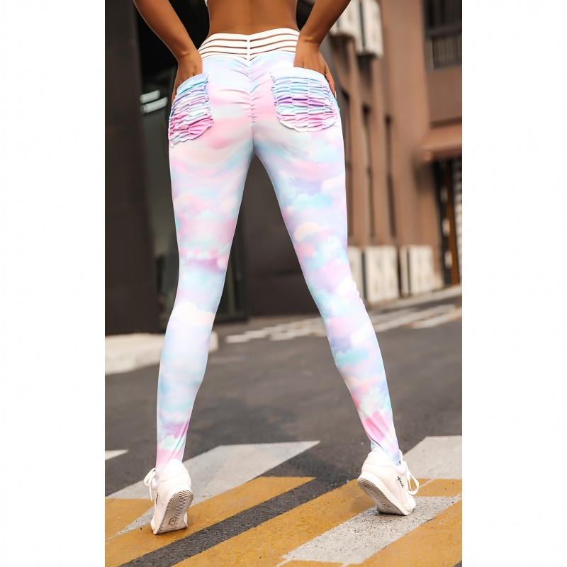 New Rainbow Print High Waist Fitness Leggings Women Sexy Sporting Jeggings Womens Workout Elastic Trousers