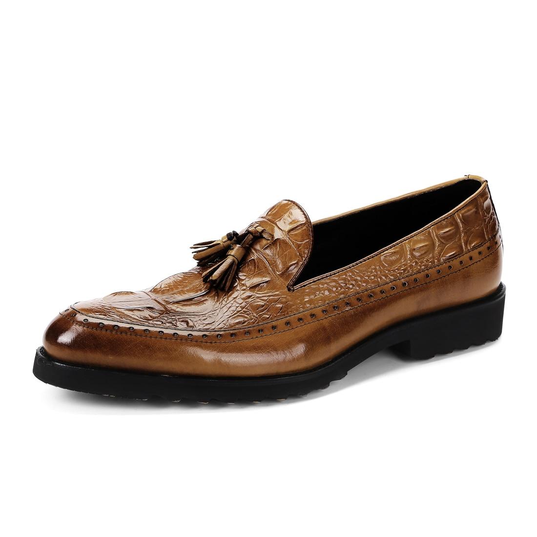 Mocassins Genuíno Preto Pé Dos Do Borla Redondo Homens Dedo Interior Sapatos Derby Negócios 2018 De Cavalheiro Casamento marrom Porco Couro Vestido qZwCgnHXx8