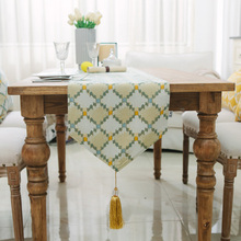 New Geometry Design Blending Table Runner With Tassels Modern Tea Dinner Home Decor Dustproof Table Runners 1pc Table Runnmers