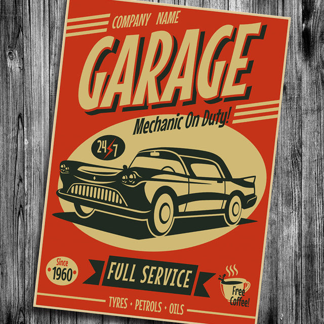 Garage Mechanic On Duty Movie Poster Vintage Posters Adornment Of Retro Paper Wall Stickers For