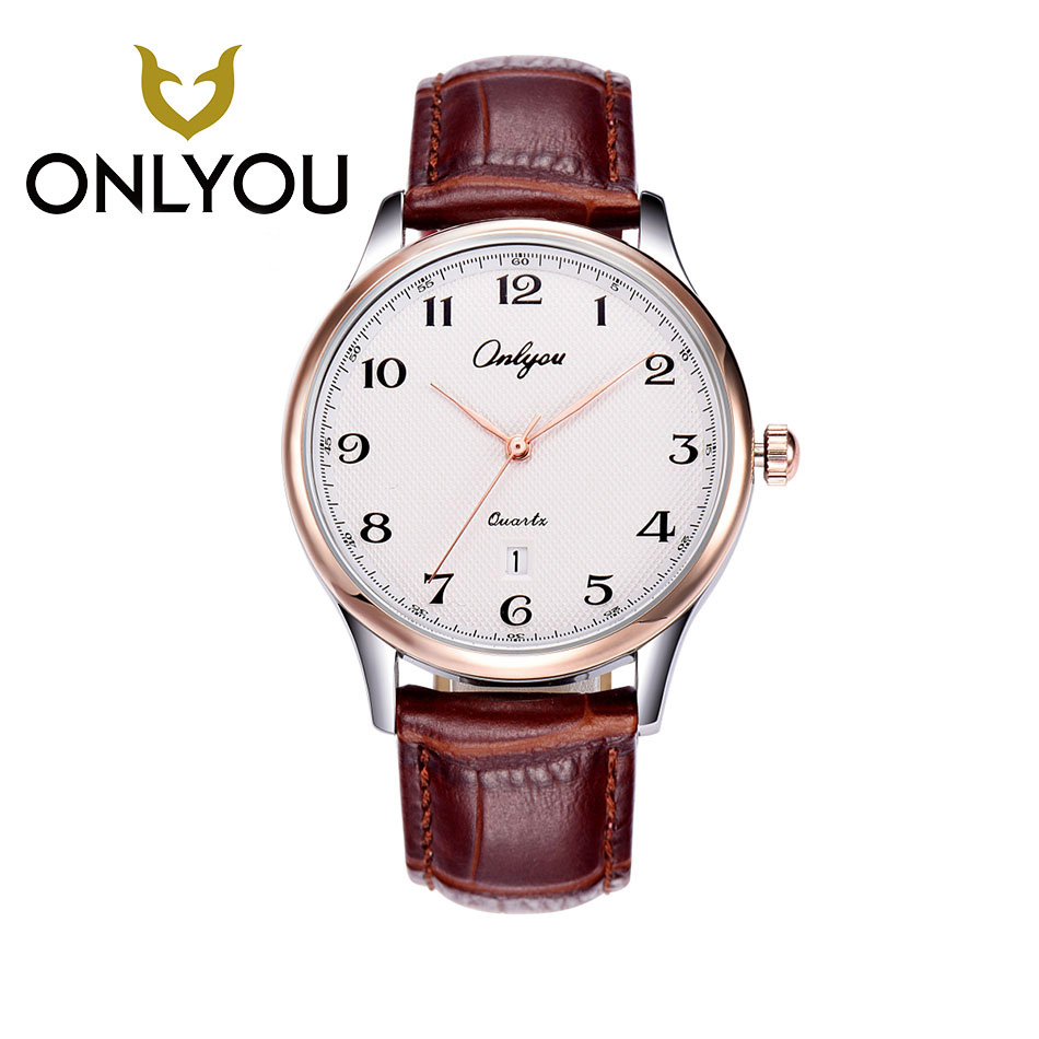 ONLYOU Fashion Math Casual Quartz Men Watches Genuine Leather Band Waterproof Women Sport Watch for Boys Girls relogio feminino