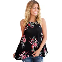 2017 New Fashion Women Tops Clothing Sleeveless High Street Womens Summer Floral Print Tank Top Flowy