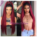 Handmade straight Ombre 1BT RED Synthetic Lace Front Wig Heat Resistant Brazilian Hair lace front wig for black Women