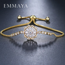EMMAYA Gold Color Flower Bracelet Clear Cubic Zircon Adjustable Link Chain Bracelets Jewelry for Women(China)