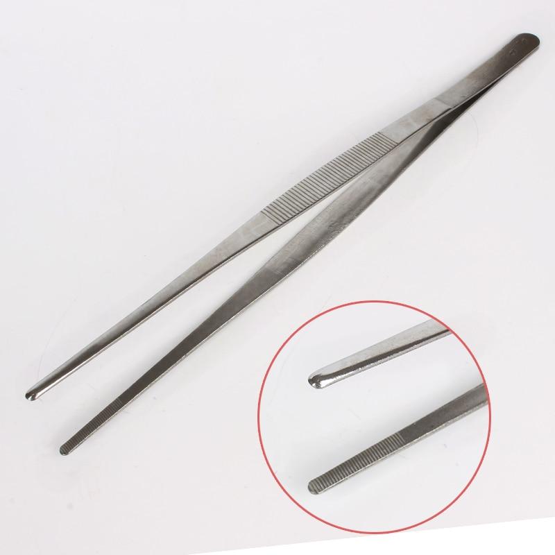 Купить с кэшбэком 2Pcs/set Multi-popuse Stainless Steel Tweezers High-precision Household Medical Extension Long Electronic Repair Food Tweezers