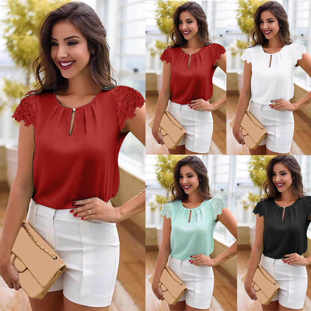 Large Size Women's Lace Blouse Summer Button cotton Shirt Women's Short Sleeve Chiffon Casual Loose blouse camisetas mujer