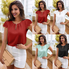 Large Size Women's Lace Blouse Summer Button cotton