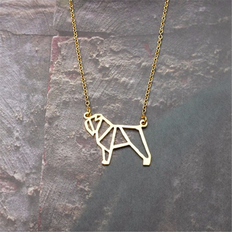 2017cute pet Origami Bouvier Des Flandres dog Pendant Choker Necklace for women girls delicate gift Jewelry