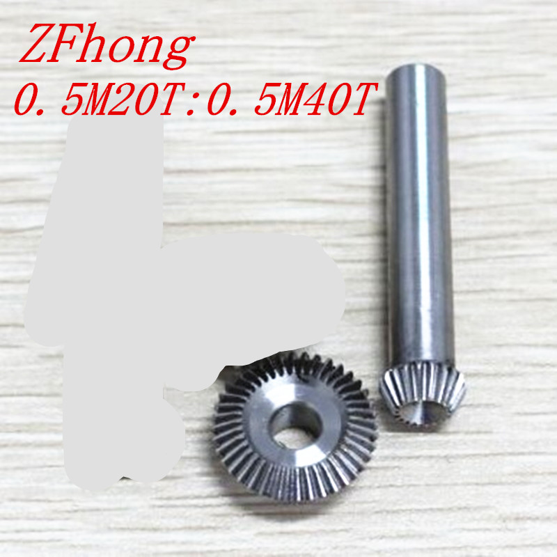 1 pair 1:2 Bevel Gear 20 teeth to 40 teeth steel Right Angle Transmission parts machine parts DIY 2pcs 1 5m 15t 45t bevel gear 15 teeth 45 teeth 1 5 mod ratio 1 3 steel right angle transmission parts machine diy