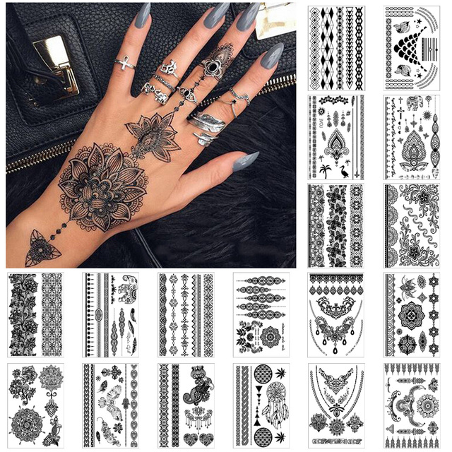 European and American style printing arm tattoo stickers black ...