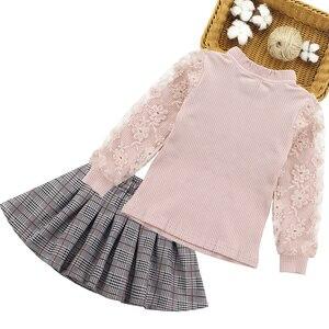 Image 2 - בנות בגדי פסים בגדי ילדים חליפות תחרה חולצה + חצאית 2pcs נער בגדי ילדי ערכות בגדים עבור 6 8 10 12 13 14