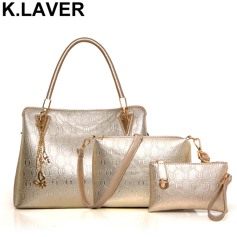 K.LAVER 3pcs Leather Bags Handbags Women Famous Brand Shoulder Bag Female Casual Tote Women's Messenger Bag Set Bolsas Feminina vogue star brand women handbag for women bags leather handbags women s pouch bolsas shoulder bag female messenger bags yk40 78
