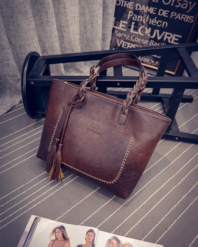 цена на 2017 Women Handbags Vintage Bags Retro PU Leather Tote Bag For Girl Large Handbag Women Tassel Casual HandBag Shoulder bags Sac