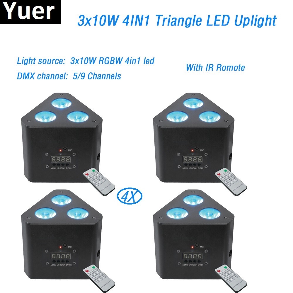 3x10W RGBW 4in1 LED Uplighter with IR Remote Powered LED Wedding Uplight LED Par Light 5/9 Channels DMX512 for disco light show freeshipping 8 unit 100% facotry direct sale 3x10w dj freedom par hex 4 4in1 rgbw led remote dmx battery powered uplight light