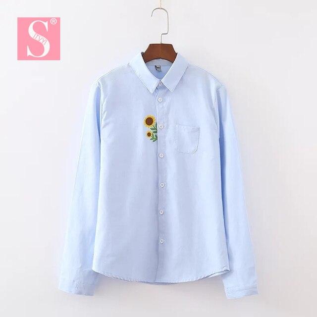 STVY 2018 Spring Summer Women Cute Blouse Sunflower Embroidery Shirt Slim Long Sleeve Tops Blusa Femininas