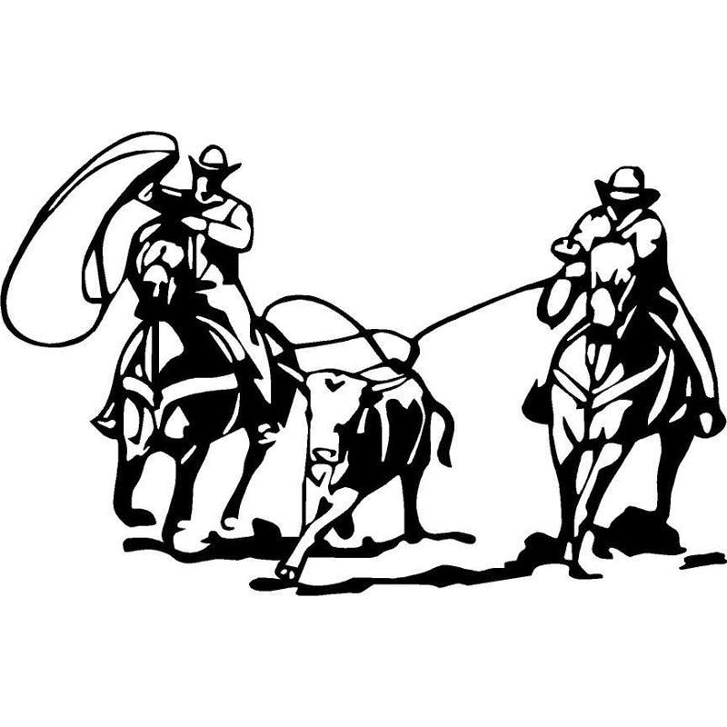 18 8cm 11 9cm Team Roping Rodeo Horse Calf Mustang Team