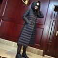 Alta qualidade Estilo Europa inverno mulheres casacos cinto fino x-longo fino pato luz para baixo jaqueta com capuz feminino parka DX349