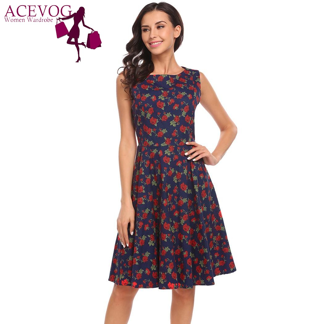 2a0d8dce9c53 ACEVOG Women Vintage Floral Print A Line Dress O Neck Sleeveless Cocktail  Party Skater Dresses 2017 Retro Party Robe Vestidos -in Dresses from Women s  ...