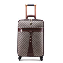 Men and Women Fashion Travel Suitcase PU Leather Vintage Luggage Universal wheels Trolley Luggage Bag 20″ 24″ Commercial Luggage