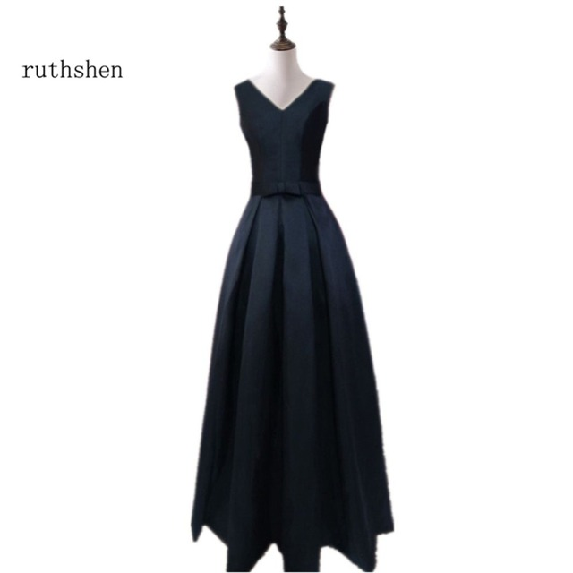 83ca400d47 US $39.69 19% OFF|ruthshen Black Elegant Long Evening Dresses 2018 V Neck  Pleated Vestidos De Noche Largos Elegantes Robes De Soiree-in Evening ...
