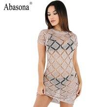 Abasona новые летние женские платье с короткими рукавами и круглым вырезом отверстия трикотажные мини-платье пикантные видеть сквозь тонкий Bodycon Ночной клуб вечернее платье