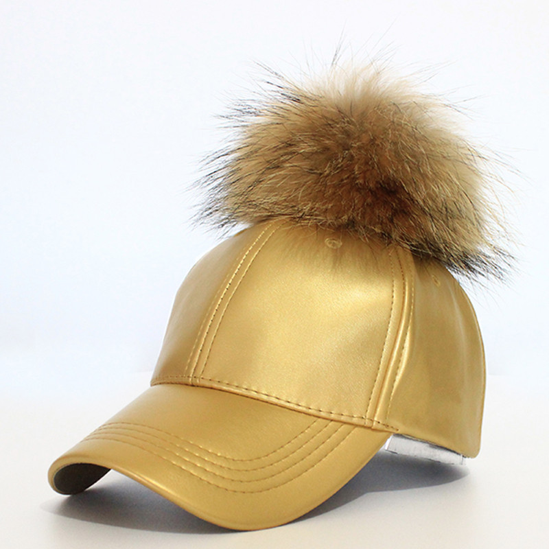 2016-Hot-Sale-Women-s-Winter-Hat-PU-Leather-Pom-Pom-Cap-Leather-Hat-With-Fur