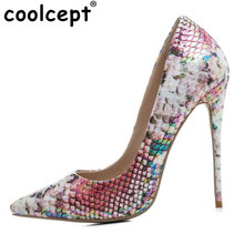 Coolcept Размеры 33-43 пикантные женские Обувь на высоких каблуках Для женщин смешанные Цвет острый носок Лакированная кожа тонкий туфли-лодочки на каблуке Club Для женщин обувь